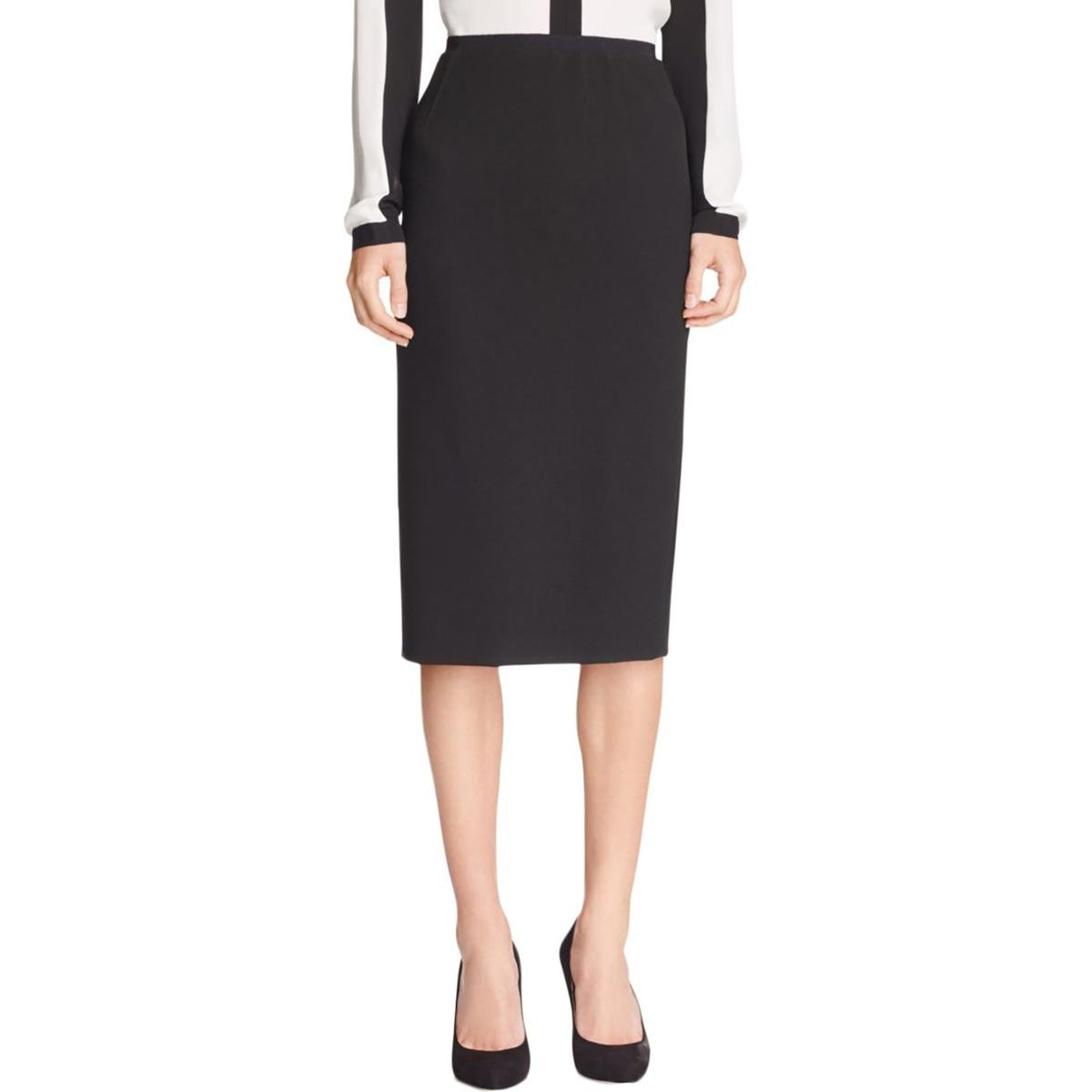 Elie Tahari Womens Beatrice Knee-Length Stretch Pencil Skirt Black 14