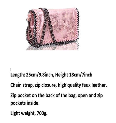 BAG LeahWard Bags Women's Party PINK Cross Leather Handbags TRIM Body CW932 For Women Chain Trim Bags CHAIN Faux TTPwnr8qd