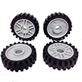 Lego Parts: LBGray Wheels 18mm D. x 8mm (Fake Bolts and Shallow Spokes) and Black Tires (Offset Tread - Band Around Center) (PACK of 4 - As Shown)