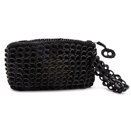 NOVICA Black Soda Pop-top Wristlet Bag, Ebony Hope and Change'