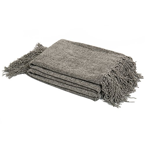 DOZZZ Decorative LIGHT WEIGHT Chenille Throw Blanket for Couch Throws Sofa Cover Soft Bedding Throw Blanket with Fringe, 60 x 50 Inch, Grey