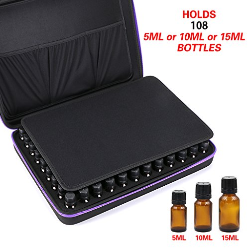 Hipiwe 108 Essential Oils Carrying Case Holds 5ml, 10ml, 15ml Bottles Hard Shell Exterior EVA Essential Oils Storage Organzier Bag with Foam Insert and Carrying Handle (Black+Purple 108)