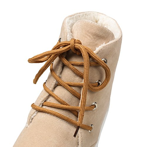 Allhqfashion Donna Low-top Solido Lace-up Rotondo Punta Chiusa Stivali Albicocca Albicocca