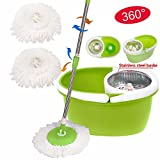 360° Rotating Magic Spin Easy Floor Mop Stainless Steel Dehydrate Basket W/Bucket 2 Heads High-Efficiency Floor Cleaning Great Wet Dry Brand New