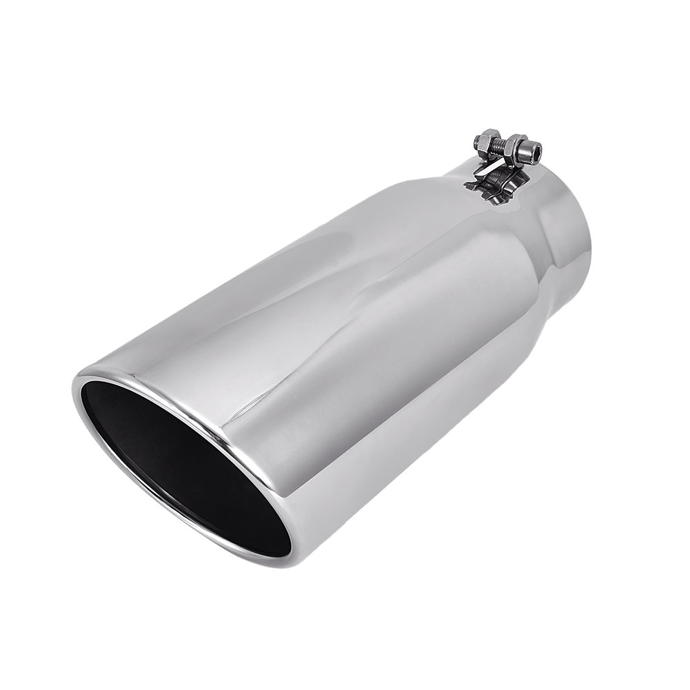 Catinbow Diesel Stainless Steel Exhaust Tip 4'' Inlet - 5'' Outlet - 12'' Long Bolt On