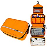 MLMSY Waterproof Hanging Type Travel Toiletry Bag Makeup Bag Travel Organizers For Cosmetic, Shaving, Travel Accessories, Personal Items - Use In Hotel, Home, Bathroom,Car, Airplane (orange)