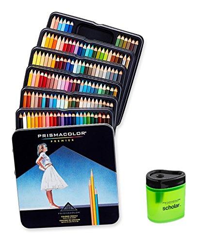 Prismacolor Premier Soft Core Colored Pencil, Set of 132 Assorted Colors (4484) + Prismacolor Scholar Colored Pencil Sharpener (1774266)