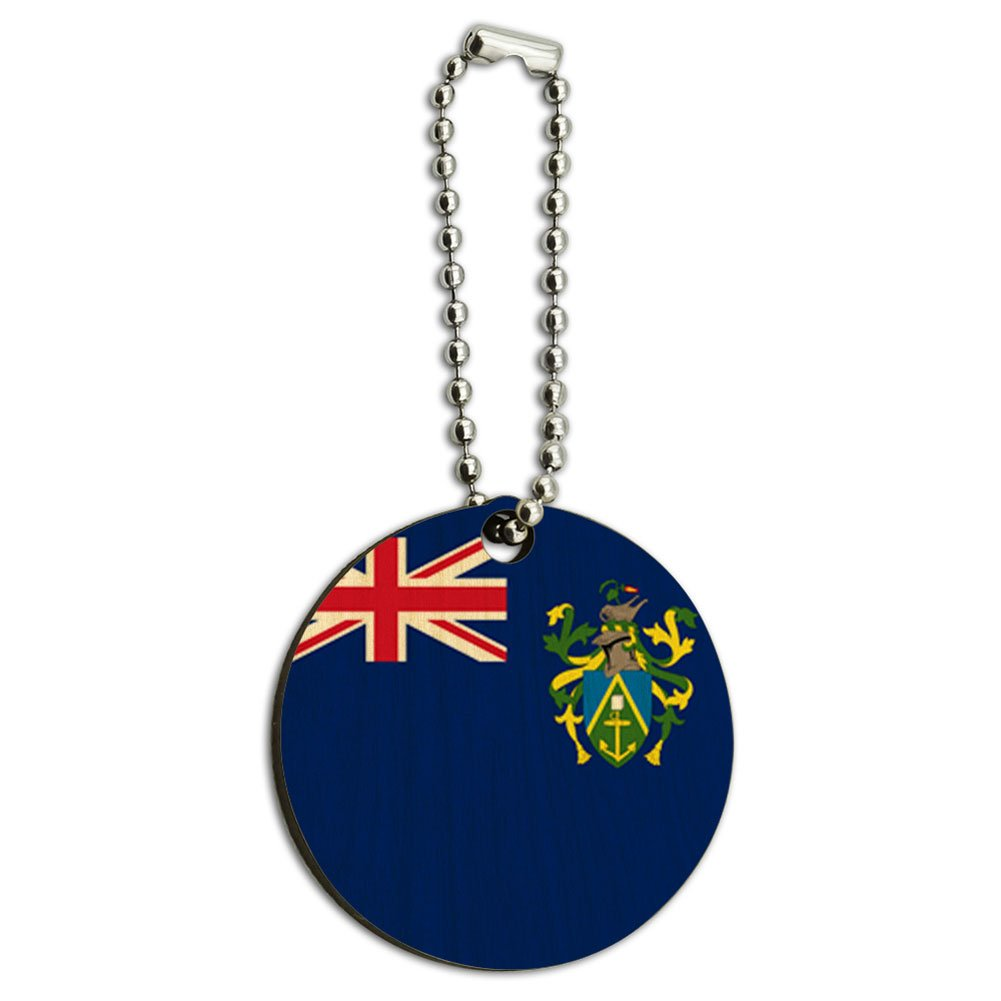 The Pitcairn Islands National Country Flag Wood Wooden Round Key Chain
