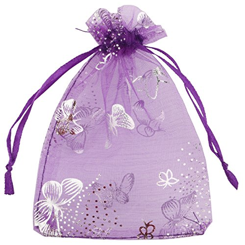 DriewWedding 100PCs Bronzing Butterflies Pattern Drawstrings Mesh Organza Gift Candy Bags Wedding Party Favors Jewelry Decorative Pouches (Purple, 9x12cm/ 3.5