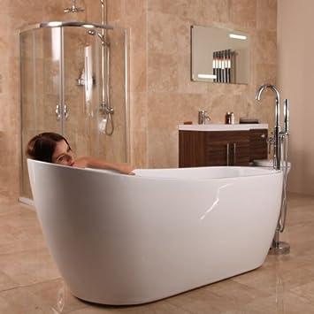 Amazon.com: Freestanding Bath Tub Slipper Acrylic White 1700 by ...