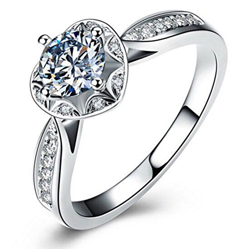 Genuine Silver 925 1CT Semi Mount Anniversary Ring NSCD Simulated Diamond Ring for Women by THREE MAN