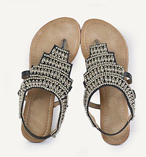 NiSeng Mujer Retro Con Cuentas Sandalias Bohemia T-Strap Peep Toe Sandalias Casual Clip Toe Sandalias Negro