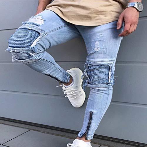 Denim Jeans A Marca Stropicciatura Uomo Di Dritta Ruggine Pantaloni Color Da Casual Matita Con Lavati Bolawoo Strappati Mode In Decorazione Chiusura 1847 Stretch Fori aOqFwdRfan