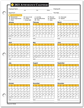 Amazon.: 2021 Attendance Calendar Sheets, Labor Law Center