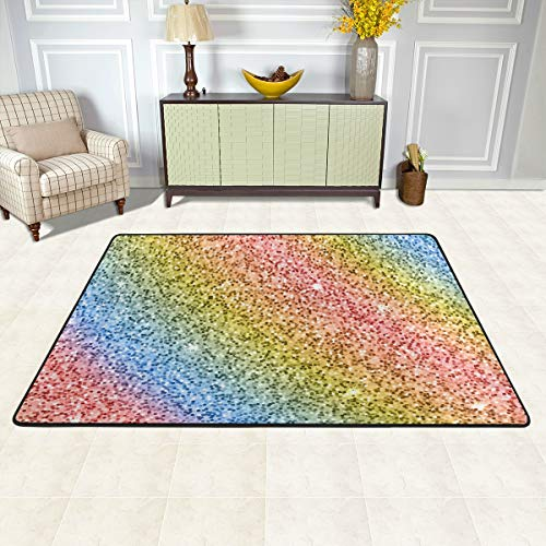 MOYYO Modern Area Rugs Rainbow Glitter Sequin Pattern 6' x 4' Indoor Soft Rug Anti-Skid Rectangle Carpet Fashion Print Floor Mat for Dining Room Bedroom Living Room Home Decor