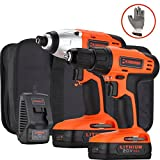 Händewerk 20V Lithium-Ion Drill Driver and 1/4 Inch Impact Driver with 2 Batteries and 4 PCS socket driver bits Tool Combo Kit Quick Charger Gloves and Contractor Bag Included