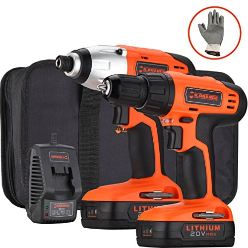 Best Impact Drill (Händewerk 20V Lithium-Ion Drill Driver and 1/4 Inch Impact Driver with 2 Batteries and 4 PCS socket driver bits Tool Combo Kit Quick Charger Gloves and Contractor Bag Included)