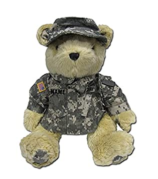 "Stuffed 18"" plush teddy bear in personalized custom embroidered U.S.  Army Combat Military Uniform-"