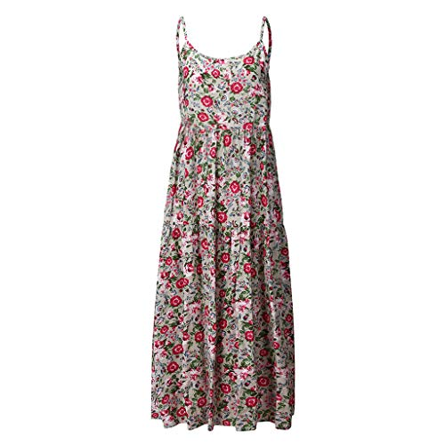 iLOOSKR Plus Size Casual Dress for Women Casual Loose Sleeveless Boho Retro Linen Print Long Maxi Dress ()