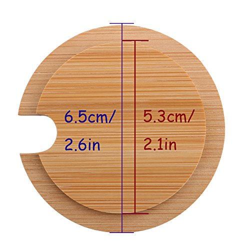 Dedoot 12PCS Wood Lids for Mason Jars, Wooden Mug Cover, Glass Jar Wood Drink Cup Lid with Spoon Hole (φ2.6IN) by Dedoot (Image #5)