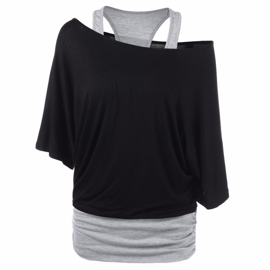 Iyyvv Fashion Women Casual Skew Neck Two Tone Patchwork T Shirt Tops