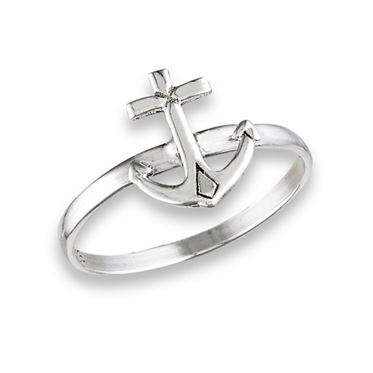 Prime Jewelry Collection Sterling Silver Women's Anchor Ring (Sizes 3-8) (Ring Size 7)