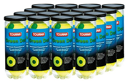 Tourna 12 Pack Pressurized Green Dot Tennis Balls in a Pressurized Can
