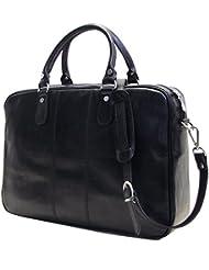 Floto Venezia Slim Black Briefcase Attache Lap-top Case