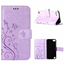 iPod Touch 5 / 6 Gen Wallet Case, Apple ipod touch 6/ipod touch 5 Beautiful Case, Flower Butterfly Pattern Premium PU Leather Wallet Case with Wrist Strap Flip Case Cover (light purple)