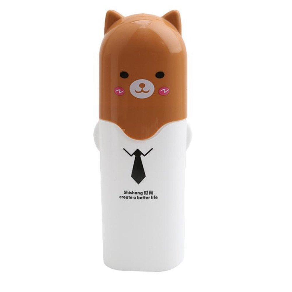 Gluckliy Portable Cartoon Animal Toothbrush Holder Box Plastic Tooth Mug Toothpaste Case Cup Travel Camping Bath Accessories (White) fangqiang