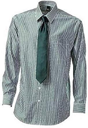 Camisa con Corbata de BC en verde Blanco Rayas: Amazon.es ...