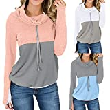 shusuen Fashion Women Colorblock Patchwork Sweatshirt Long Sleeve Cowl Neck Drawstring Pullover Top Blouse Leisure Coat