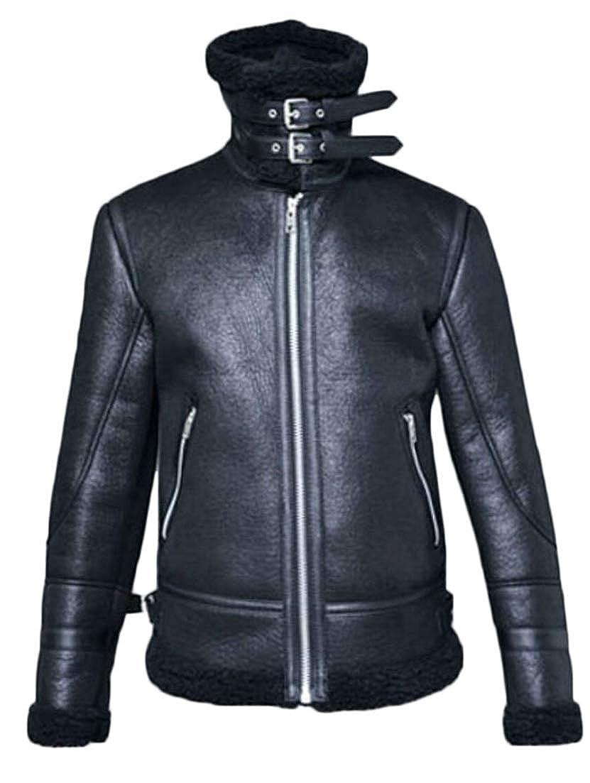 XiaoTianXinMen XTX Mens Faux Leather Fleece Zip Up Autumn Winter Moto Outerwear Parka Coat