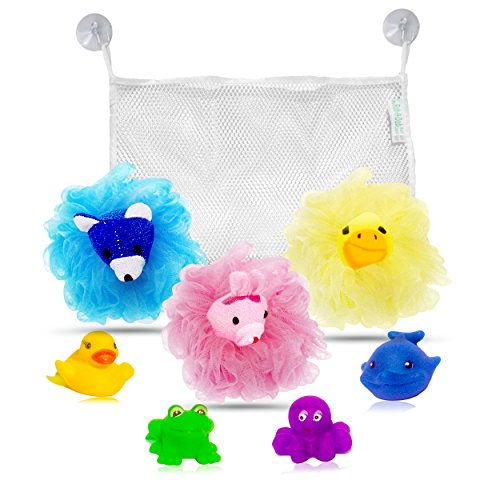 - My Rub-A-Dub Bath Caddy Baby Bath Toys Organizer Bundle, Set of 9