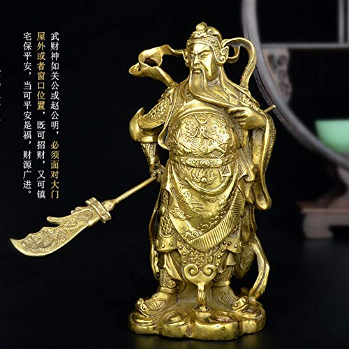 DAJIADS Figurine Figurines Statue Statues Statuette Guangong, Pure Copper, The Marquis Guan Yu, Guan Gong Statue, Buddha Figure, The God of Wealth, Business Gifts,25Cm ()