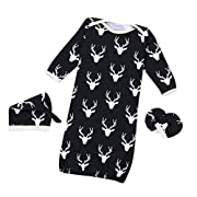 3 PCS/ Set Toraway Newborn Baby Boys Girls Christmas Reindeer Gown Hat No Scratch Mittens 3Pcs Outfits Clothes (0-6 Month, Navy)