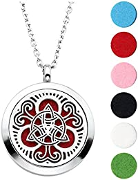 Hypoallergenic 316L Surgical Stainless Steel Hollow Aromatherapy Essential Oil Diffuser Charm Necklace Locket Pendant,24 Inch Chain and 6 Washable Pads