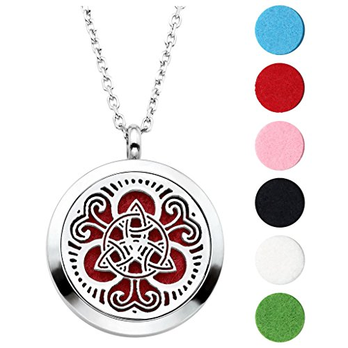 Jovivi Hypoallergenic 316L Surgical Stainless Steel Hollow Aromatherapy Essential Oil Diffuser Charm Necklace Locket Pendant,24 Inch Chain 6 Washable Pads ()