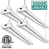 4 Pack 42W Linkable LED Shop Lights Addlon 4ft 48 Inch 5000K Led Garage Ceiling Lighting, 300W Equivalent Double Integrated Florescent Lights Fixture with Pull Chain Mounting