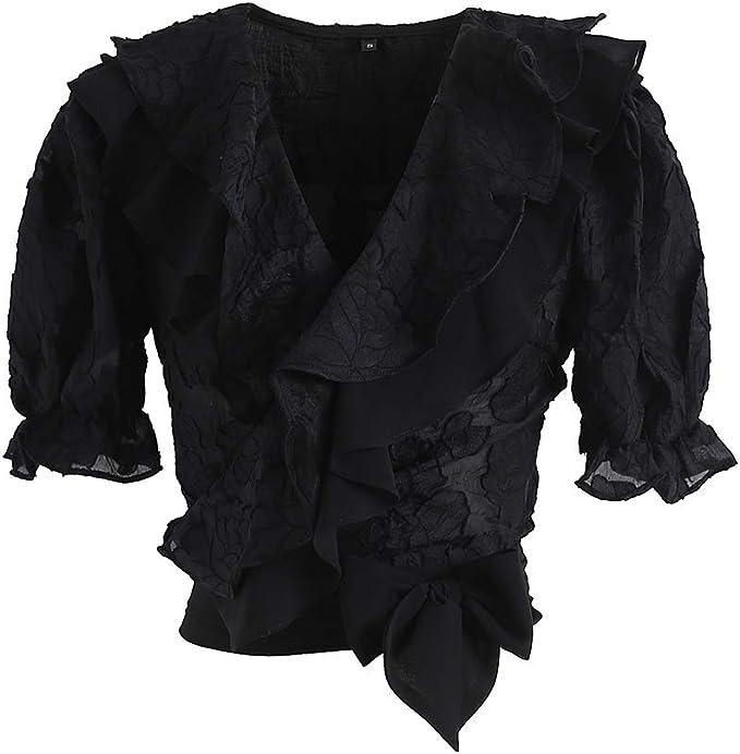 Chicwish - Blusa con Volantes y Cuello en V para Mujer, Color ...