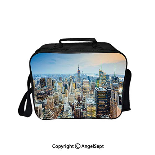 Travel Picnic Lunch Box Wide Open Lunch,New York City Aerial with Skyscrapers Manhattan Urban Architecture Panorama Silver Blue Peach 8.3inch,Lunch Bags For Unisex Adults