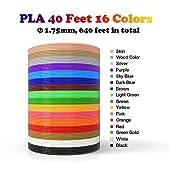 3D Pen 16 Colors, 320 Feet Bonus 250 Stencils eBooks - Dikale 3D Pen Filament 1.75mm PLA for Tecboss Nulaxy etc(Does Not Fit 3Doodler)...