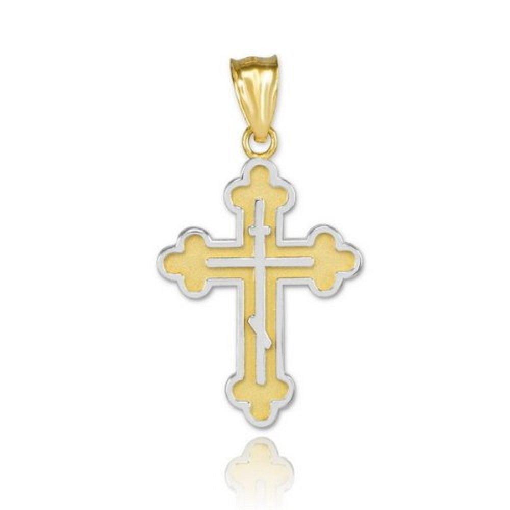 1.6 10k Two-Tone Gold Catholic Jesus Christ on INRI Cross Crucifix Pendant Necklace