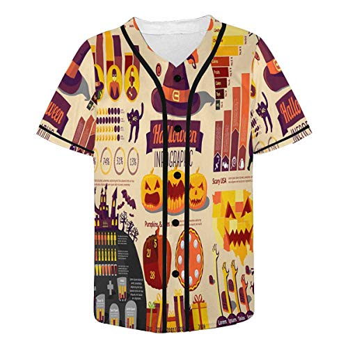 InterestPrint Men's Set of Halloween Infographic Elements with Icons Baseball Jersey Button Down T Shirts Plain Short Sleeve 4XL -