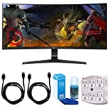 "LG (34UC89G-B) 34"" Curved UltraWide WFHD 2560x1080 IPS Display Gaming Monitor w/ Accessories Bundle Includes, 2x HDMI Cable, SurgePro 6-Outlet Surge Adapter w/ Night Light & LED TV Screen Cleaner"