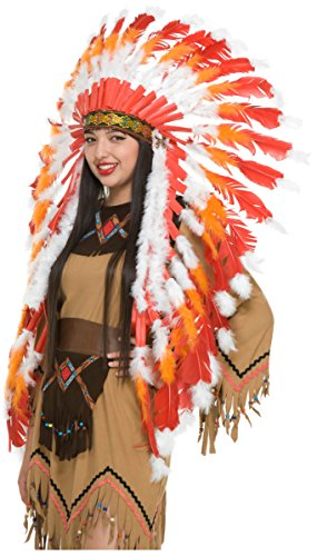 [Red, White & Orange American Indian Headdress with Trailer] (Male Indian Costumes)