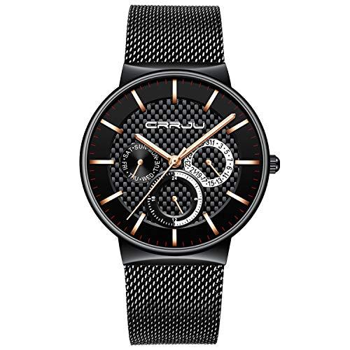 - Mens Watch Ultra-Thin Case Black Milanese Mesh Sub Dial Analogue Quartz Watch Calendar Waterproof Business Design Casual Dress Watch - Gold Hand