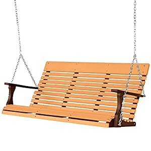 Berlin Gardens Casual-Back Stainless 5 Ft Porch Swing - Cedar on Chocolate Brown