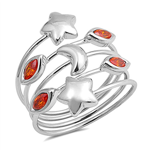 (Simulated Garnet Puffed Star Moon Marquise Ring New 925 Sterling Silver Band Size 9 )