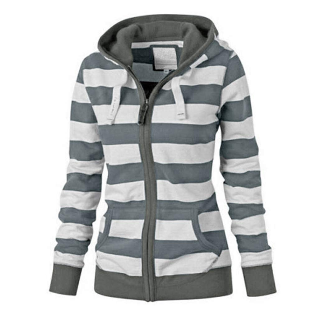 666b0c51f39 Amazon.com  Easytoy Womens Striped Hoodies Full Zip Hooded Sweatshirt Coat  Outerwear with Pockets  Health   Personal Care